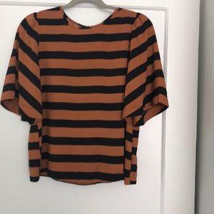 Black and burnt orange blouse